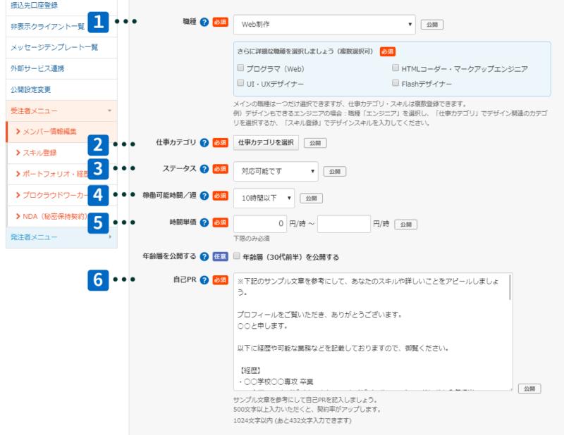 クラウドワークスプロフィール作成3
